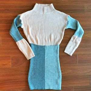 Colorblock mini sweater dress